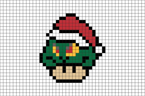 Mario Mushroom The Grinch Pixel Art BRIK