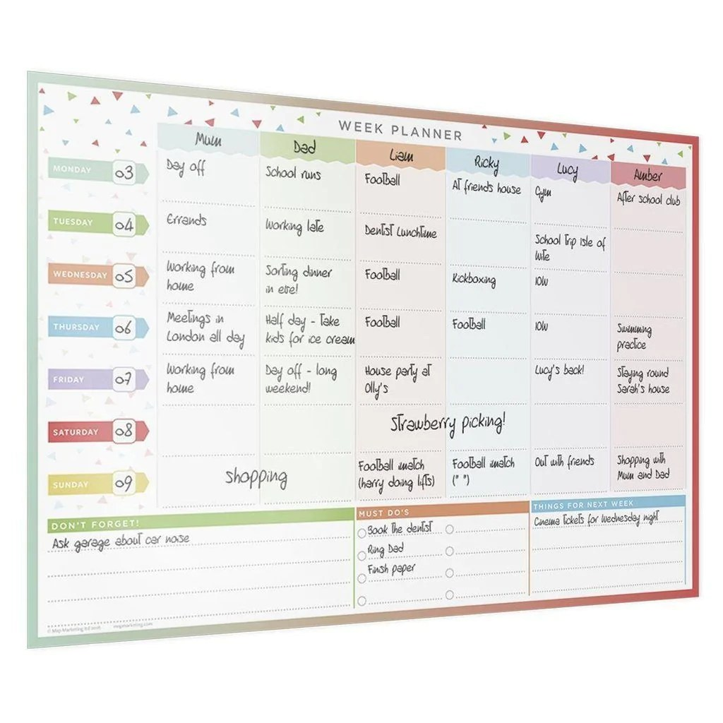 also family weekly planner laminated wall chart rh butlerandhill