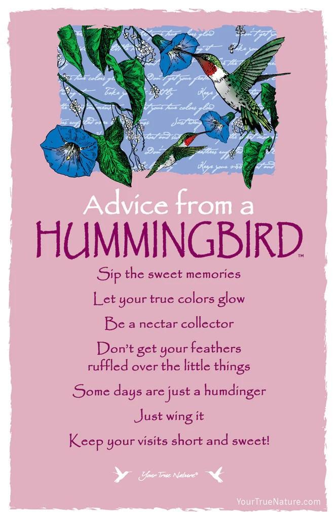 Advice From A Hummingbird Frameable Art Postcard – Your