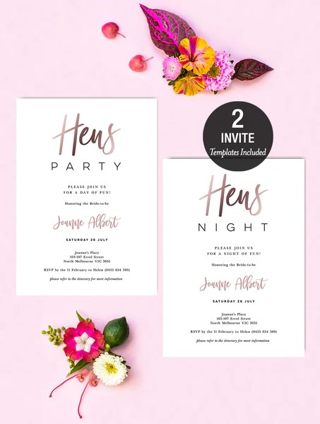 hens party invitation rose