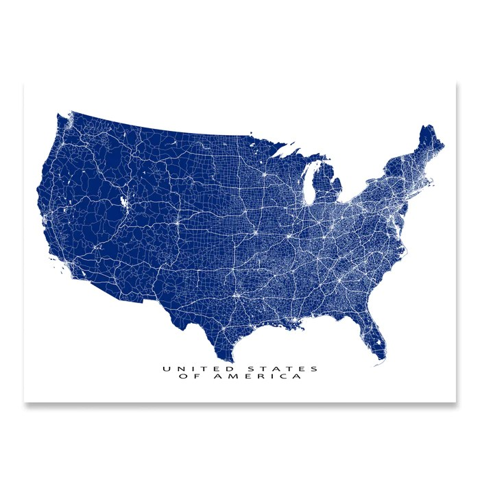The national highway system includes the interstate highway system, which had a length of 46,876 miles as of 2006. Usa Map Print United States Of America Roads Maps As Art