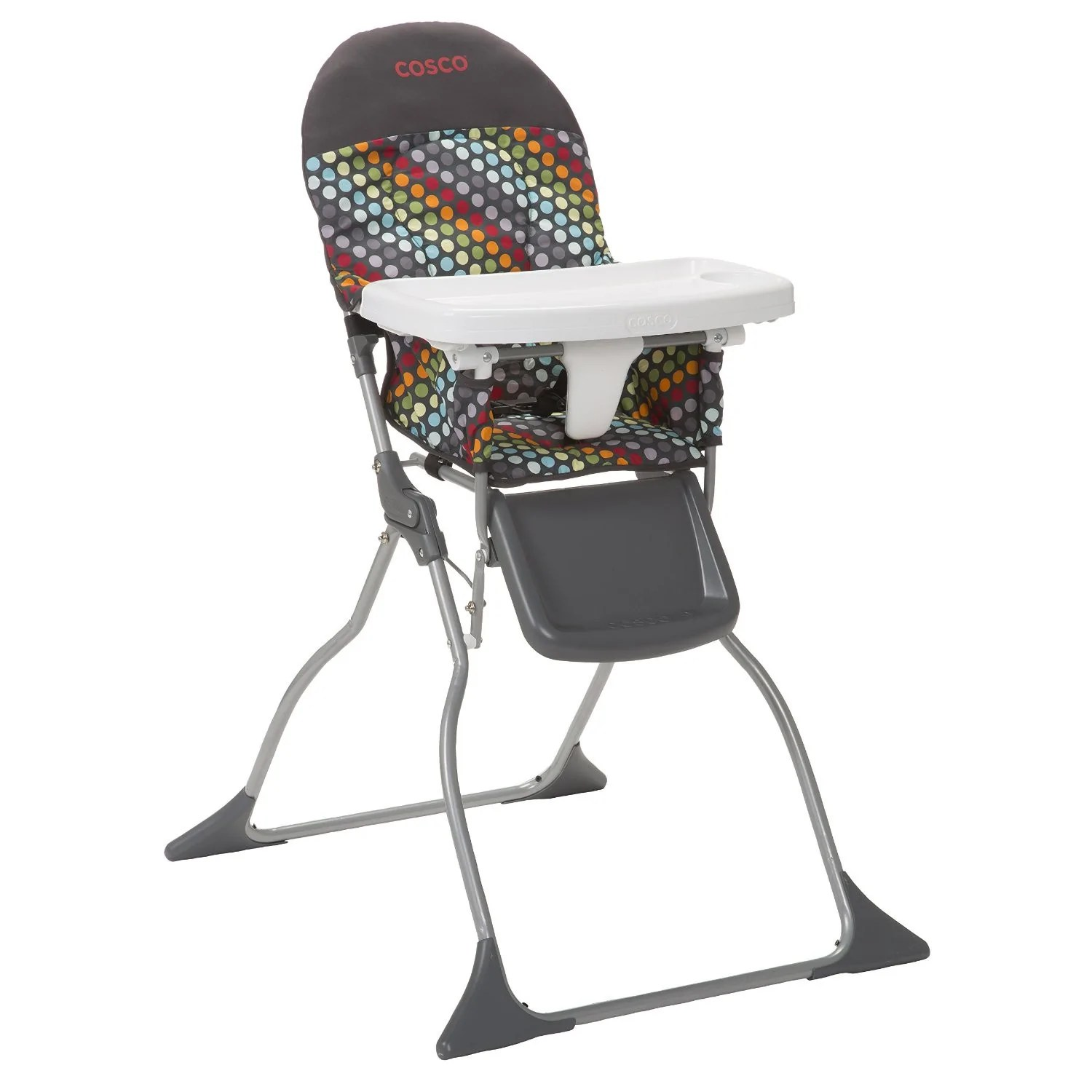 fold down high chair stool for kitchen cosco simple rainbow dots hc225dcd