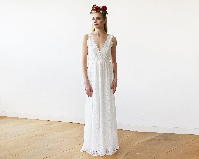 Sleeveless Ivory Lace Wedding Gown 1150
