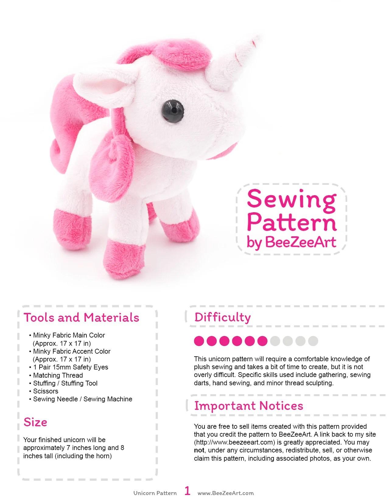 Unicorn Plush Pattern : unicorn, plush, pattern, Unicorn, Plush, Sewing, Pattern,, Stuffed, Animal, File,, Digita, BeeZeeArt