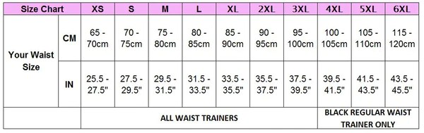 Waist trainer size chart also regular latex black   australia rh waisttrainerx