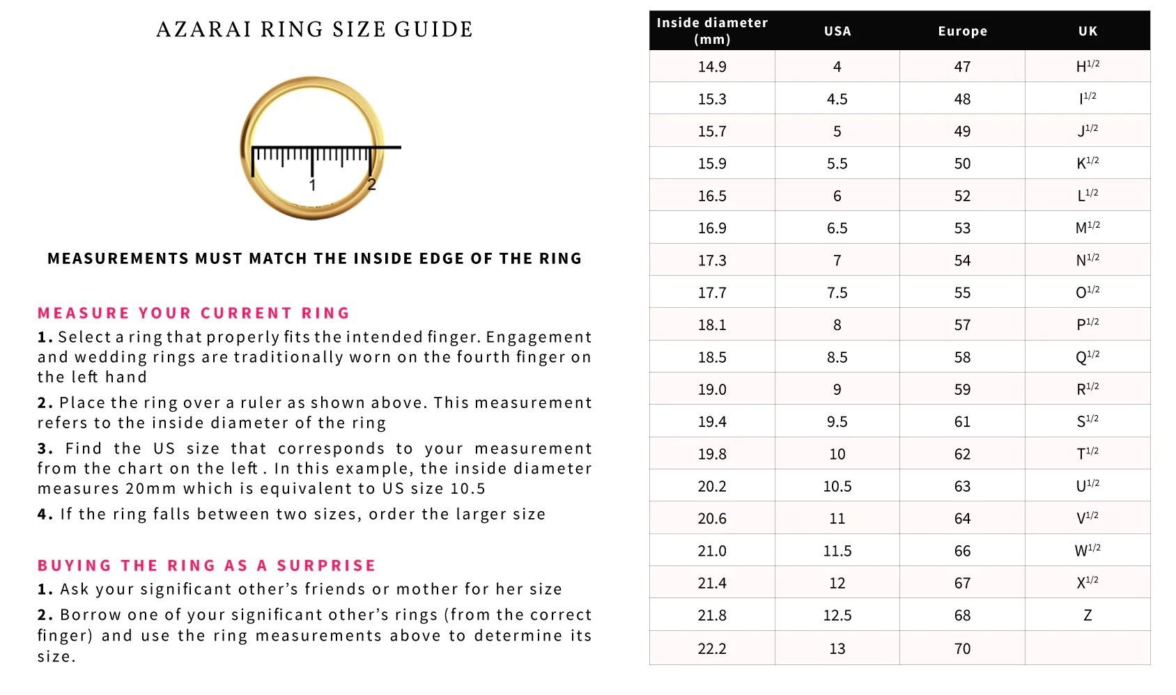 Ring size guide also azarai jewelers how to find your nigeria rh