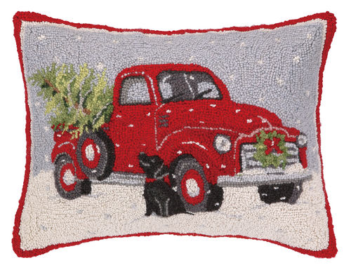 Old Red Truck With Black Lab Christmas Pillow Dog Lovers