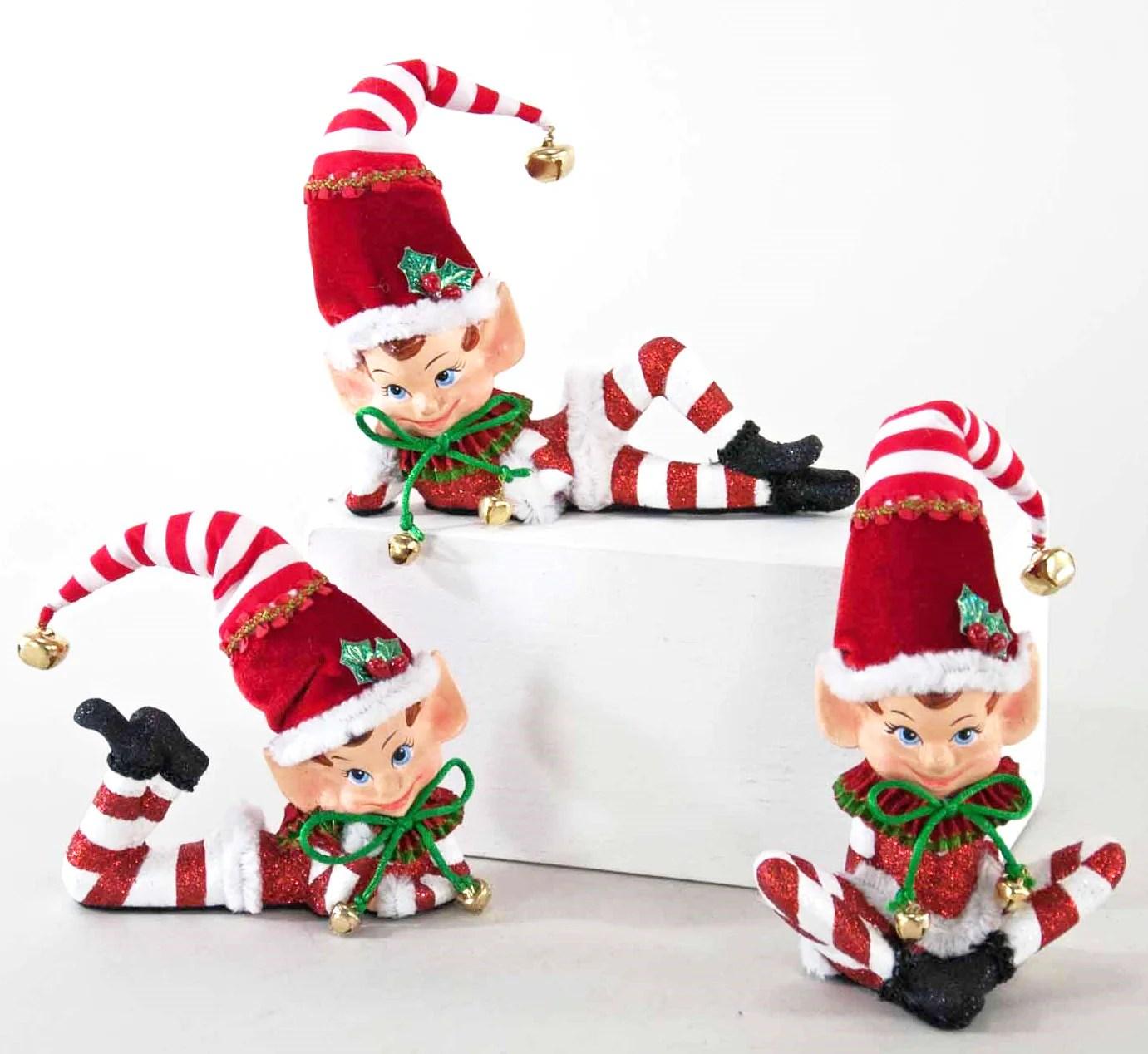 Retro Elf Ornaments With Red And White Stripes Retro Christmas Decor Theholidaybarn Com