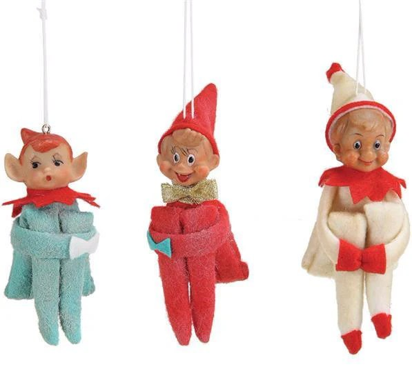Vintage Reproduction Elf Ornaments Aqua Coral Cream