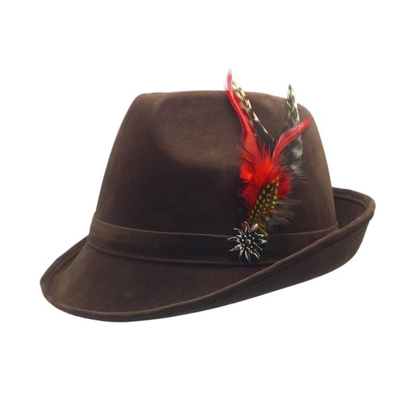 German Hunter Brown Hat Fedora With Edelweiss  Feather