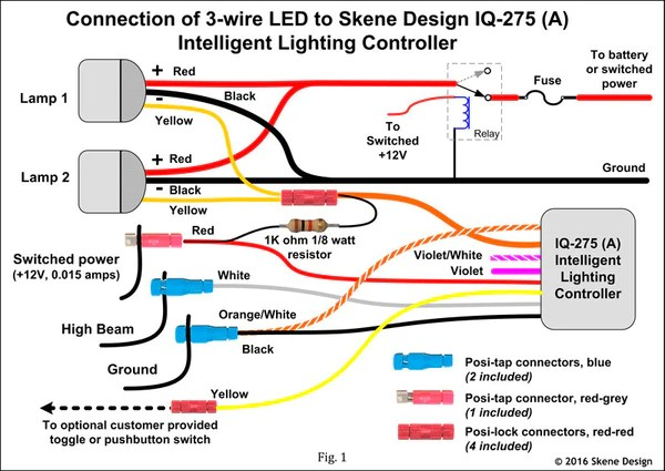 car led light wiring diagram 99 tahoe iq-275 intelligent spotlight dimmer for daylight running lights, contr – d2d accessories
