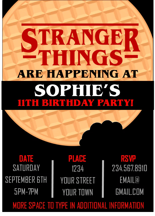 stranger things party invitation