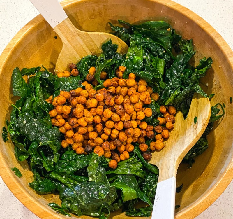 roasted chickpea salad in wooden bowl
