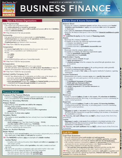 Business Finance Laminated Reference Guide Learning Ly