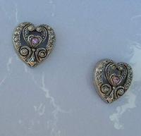 AVON Egyptian Revival Niello Rhinestone Heart Post ...