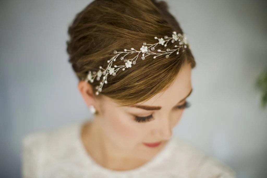 braided interwoven wedding hair vine headband for a short haired bride