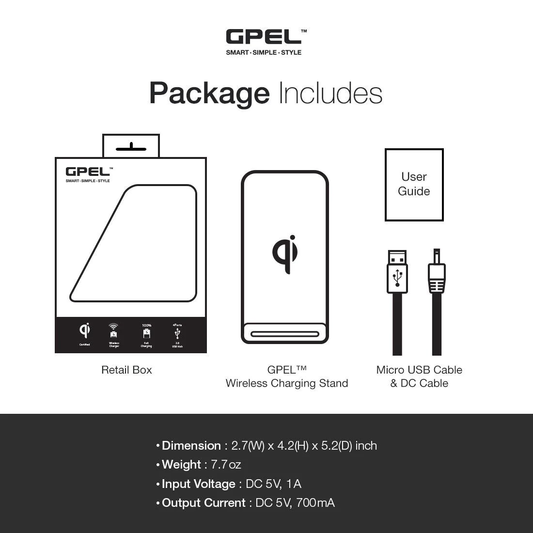 small resolution of gpel qi wireless charging stand 3 coil technology with built in usb hub