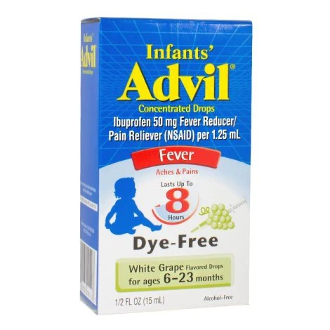 Advil Infants White Grape Flavored Drops Fever Reducer/Pain Reliever ...