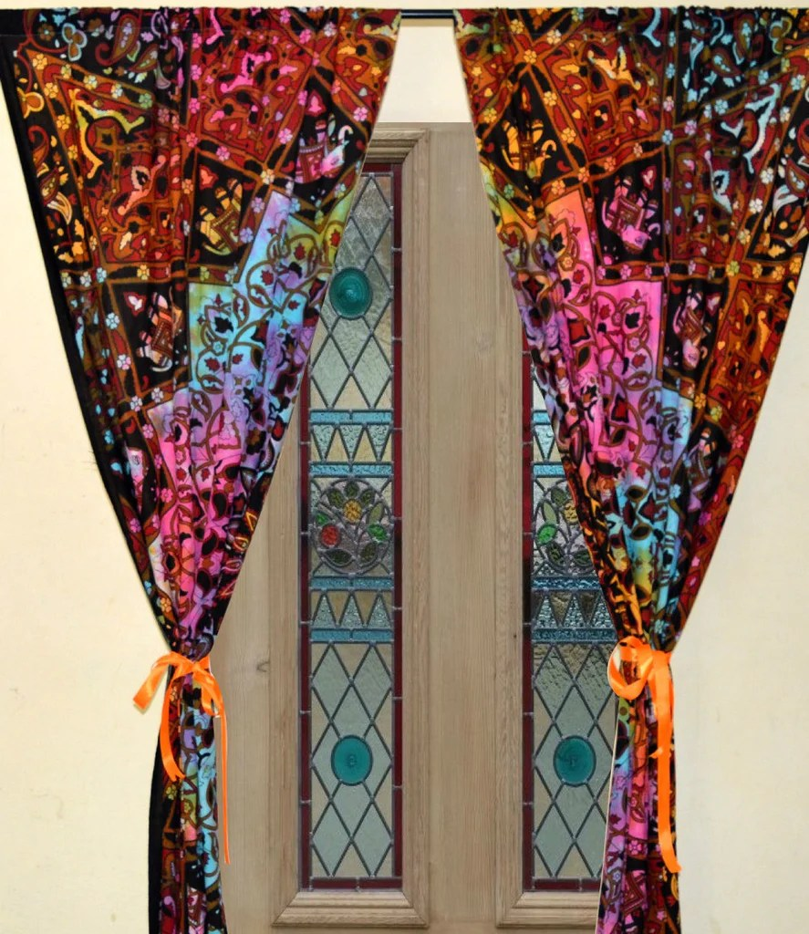 Boho Tie Dye Mandala Tapestry Window Hanging 2 Panels Door