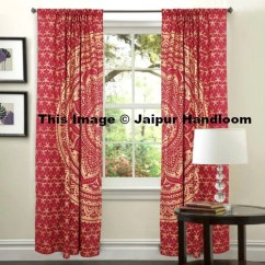 Pillow Covers For Living Room Sofa Ideas Golden Mandala Window Curtains Indian 2 Panel ...