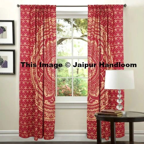 Golden Mandala Living Room Window Curtains Indian 2 Panel