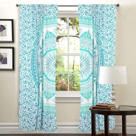 Mandala Hippie Tapestry Curtains  Window Door Drapes Valances
