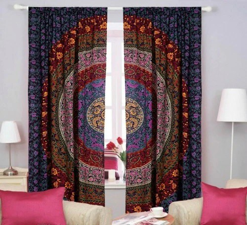 indian tapestry mandala curtains bohemian door decor 2 panels curtains