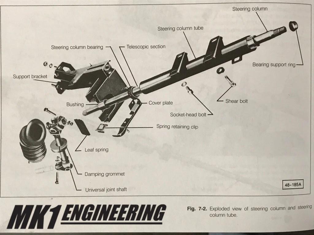 hight resolution of  vw mk1 rabbit scirocco cabriolet steering column rebuild kit