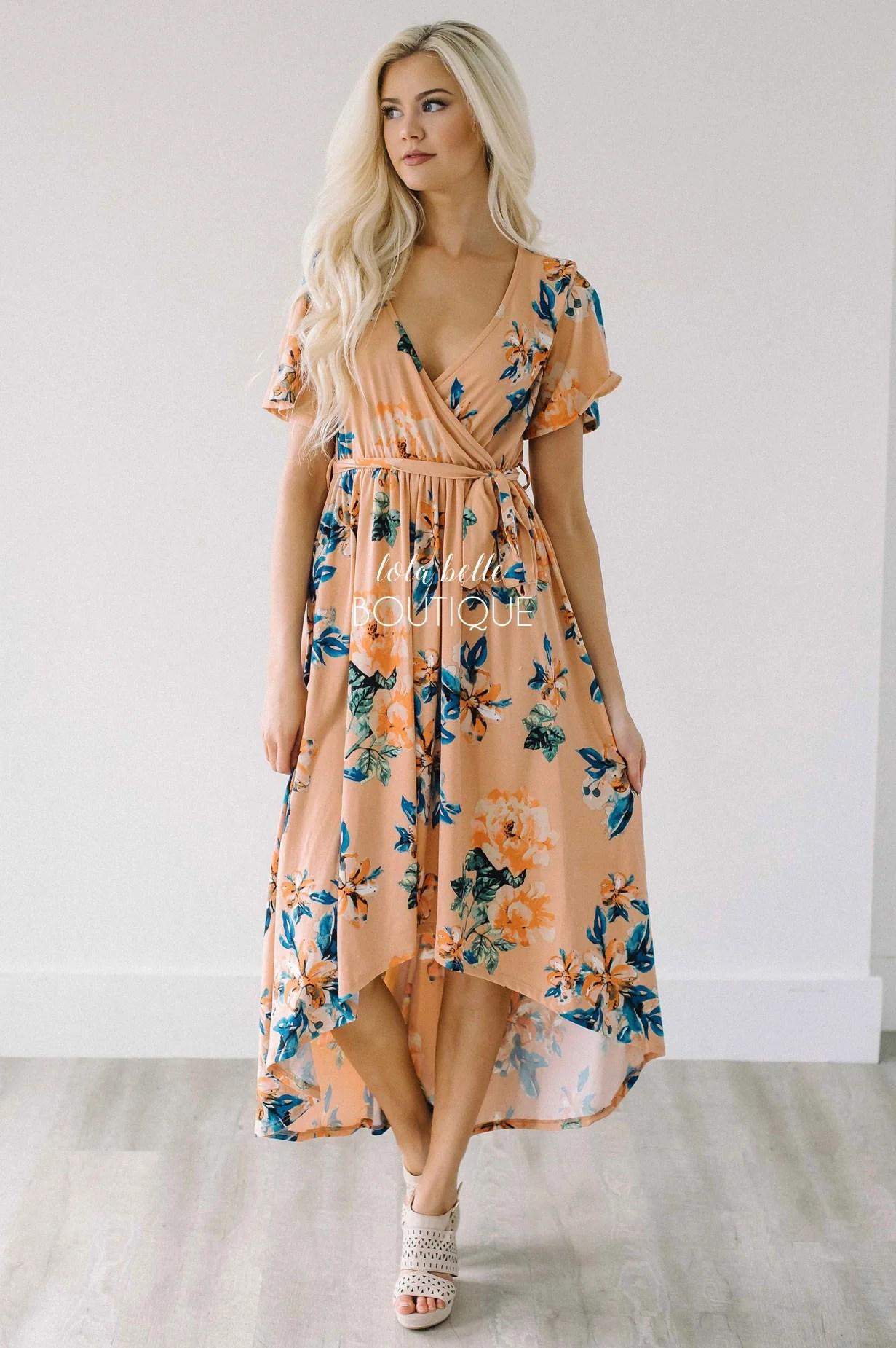 Peach Floral Dresses