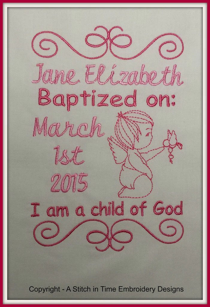 5x7 Baptism Announcement Template A Stitch In Time Embroidery Designs