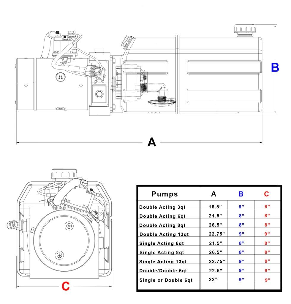 hight resolution of 3 quart 12v kti double acting hydraulic pump
