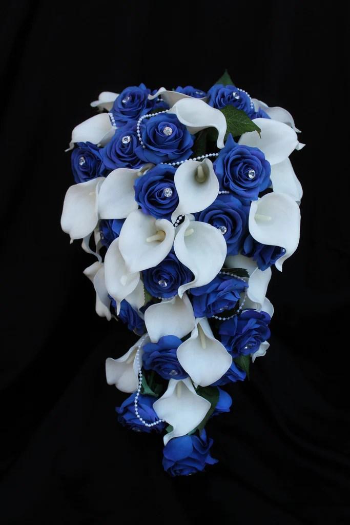 A Cascading Rose  Calla Lily Wedding Bouquet Collection  Detail Wedding Design
