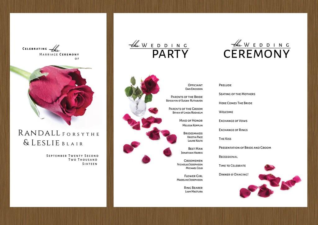 A Single Rose Wedding Program  Detail Wedding Design