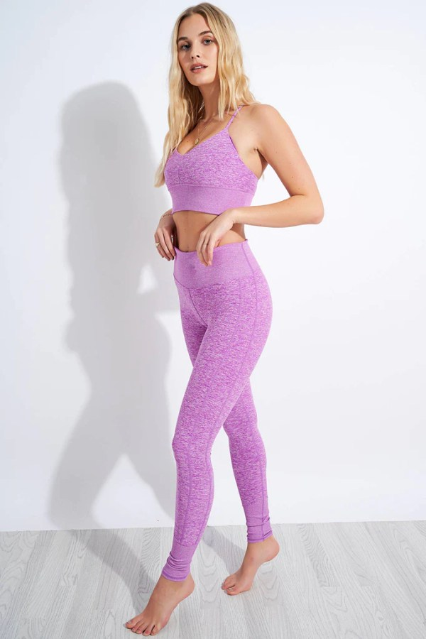 Alo Yoga High Waisted Alosoft Lounge Legging - Electric Violet Heather image 2 - The Sports Edit