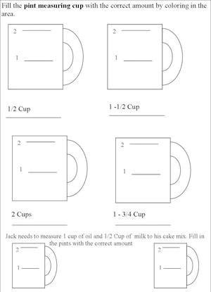 Kitchen Measuring Chart Worksheets Kids Cooking Activities