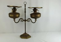 """Bankers Double Oil Lamp Duplex Made In England 23"""" x 23 1"""