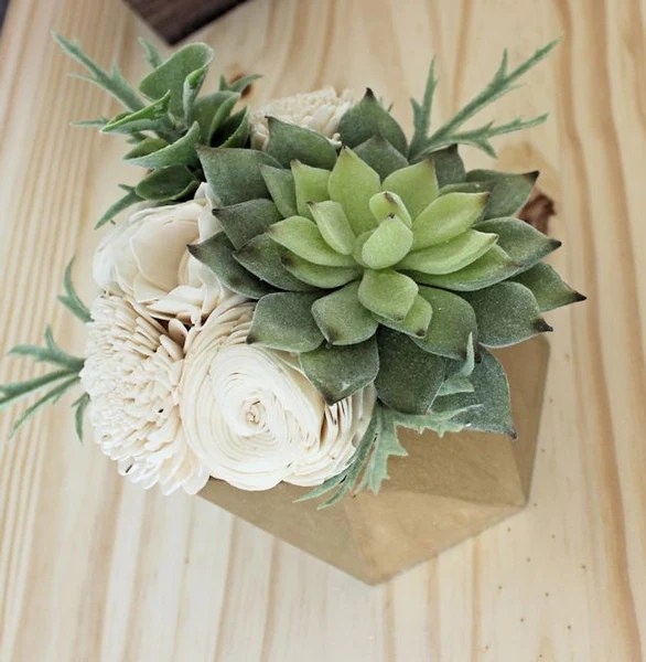 Small Artificial Succulent Arrangement Centerpiece