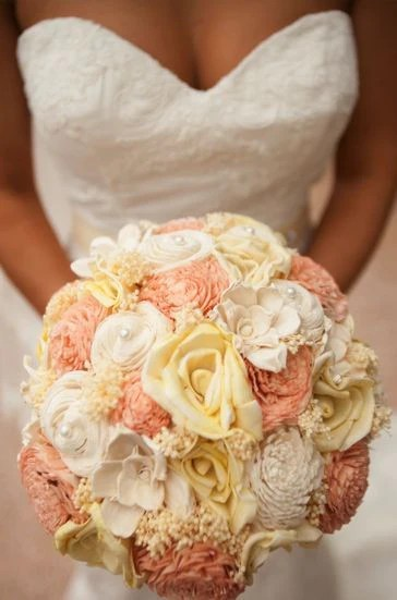 Custom Handmade Wedding Bouquet Peach Yellow Rose Bridal