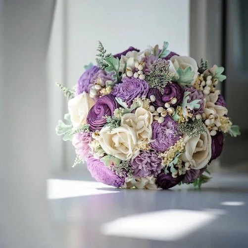 Luxe Collection Bridal Bouquet Purple Sola Flowers