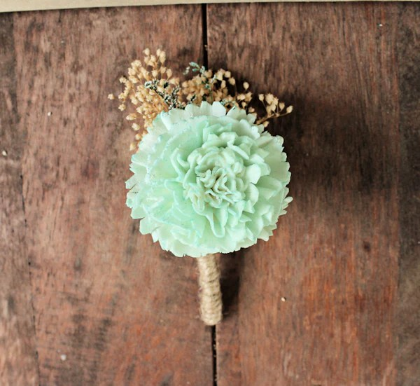 Mint Carnation Boutonniere Pink and Mint Collection