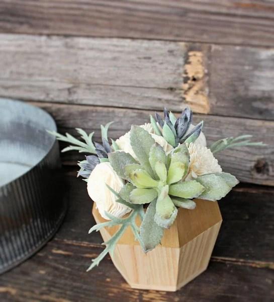 Artificial Succulent arrangement centerpiece midcentury