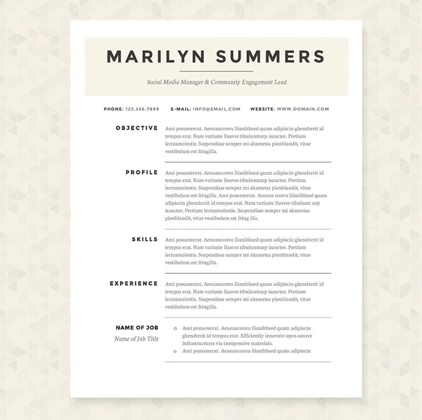 zip resume formatting