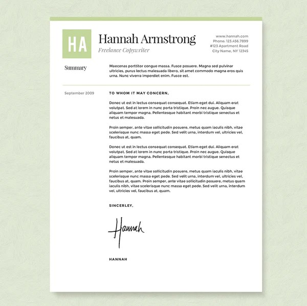 Green Freelancer Resume Cover Letter & References