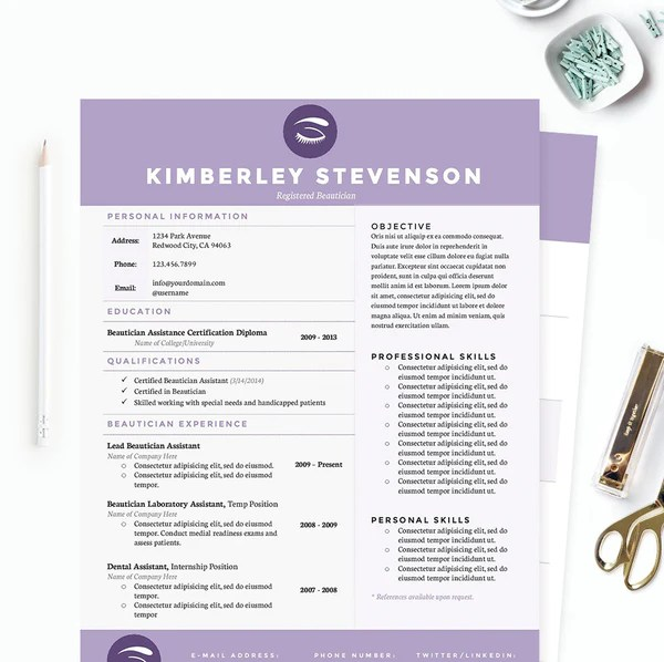 Purple Beautician Resume Cover Letter & References