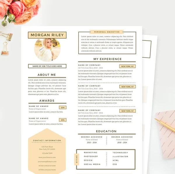 Pretty Sunrise Resume Cover Letter & References Template