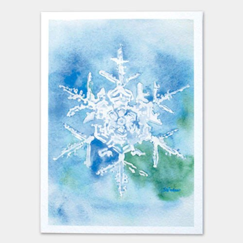 Snowflake Watercolor Painting Christmas Card Set Susan