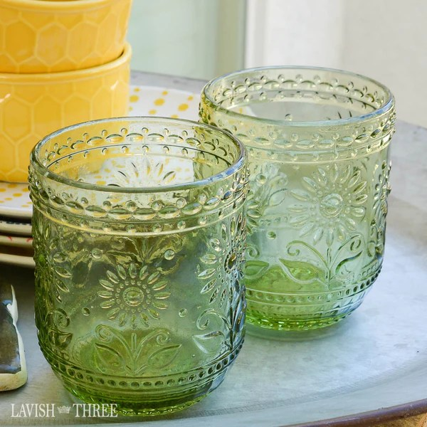 Vintage cottage style green embossed drinking glass