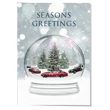 Classic Car Snow Globe Christmas Card Artwords Design