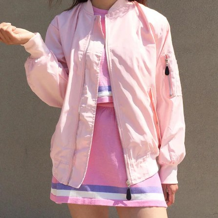 BABY GIRL KAWAII PINK 90s baby PINK BOMBER Jacket