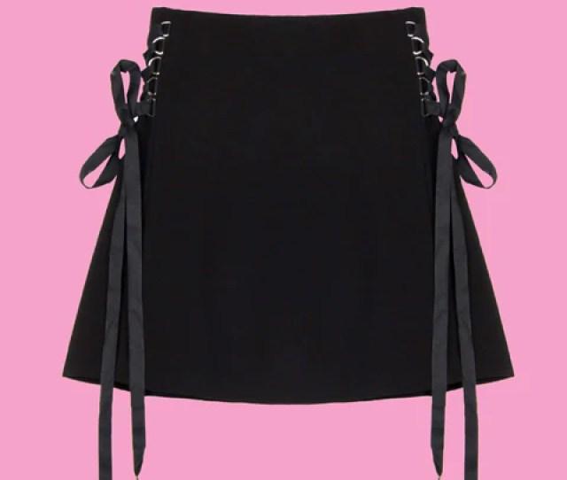 2018 Kawaii Goth Pleated Lace Up Skirt